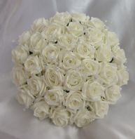 ARTIFICIAL FLOWERS IVORY FOAM ROSE BRIDE CRYSTAL WEDDING BOUQUET POSIE